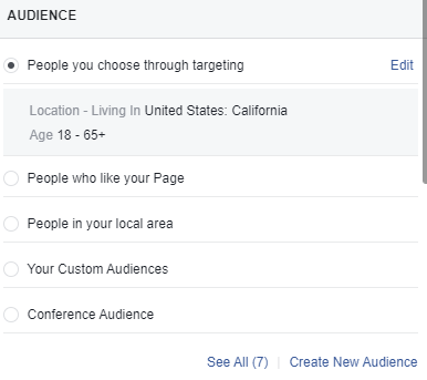 Boost Post Audience Targeting Options