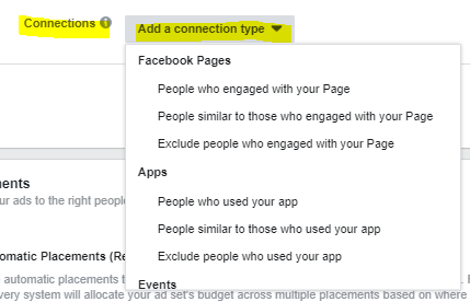 Facebook Ad Connections Targeting