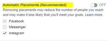 Facebook Boost Post Ad Placement Options