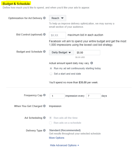 Facebook Ad Budget and Schedule Options