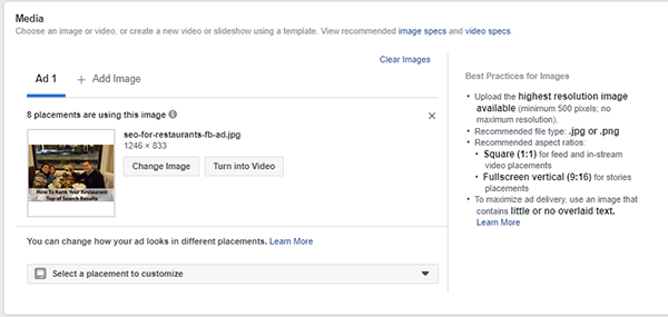 Facebook Ad Display Options - Image Ads