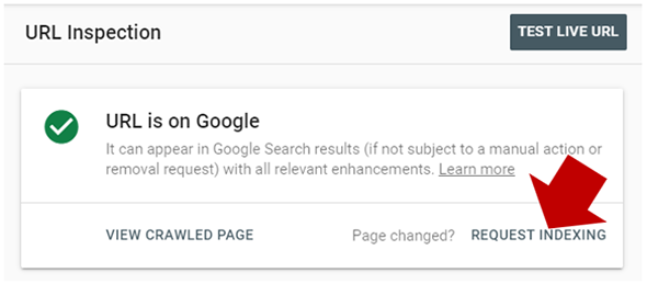 Request Indexing Of A Page in Google Search Console